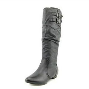 Steve Madden Branddy Leather Riding Boots Black